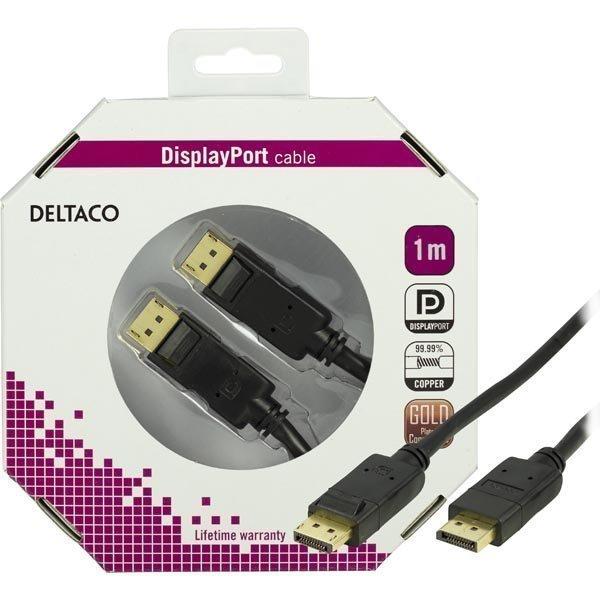 DELTACO DisplayPort monitorikaapeli 20-pin uros - uros 1m musta