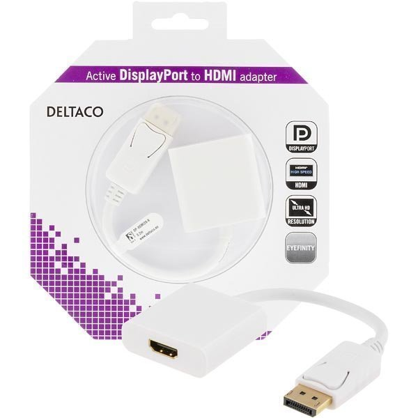 DELTACO Displayport - HDMI sovitin 4K audio 0 2 valkoinen
