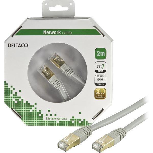 DELTACO F/UTP Cat7 laitekaapeli 2m RJ45 ur-ur (ei halogeenia) harmaa