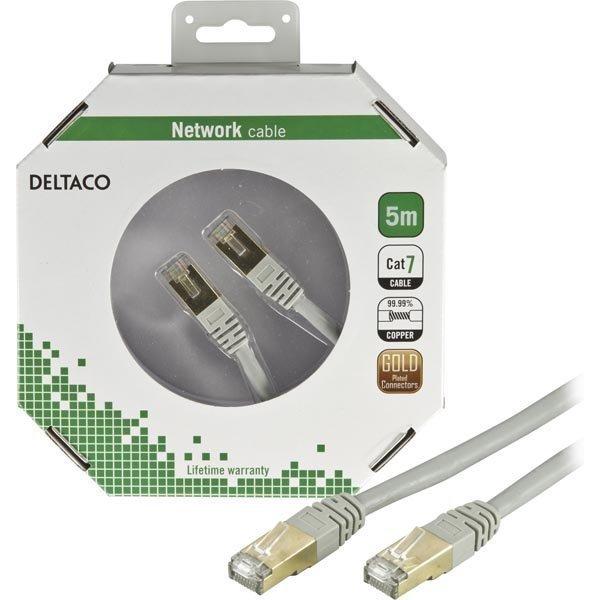 DELTACO F/UTP Cat7 laitekaapeli 5m RJ45 ur-ur (ei halogeenia) harmaa