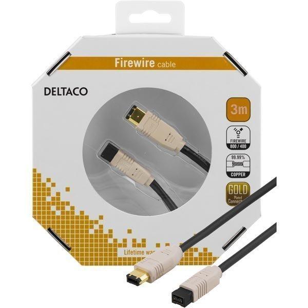 DELTACO Firewire 800 -kaapeli 9-pin u - 6-pin u 3m