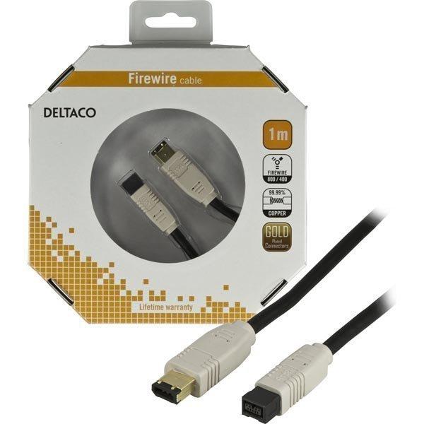 DELTACO Firewire 800 -kaapeli 9-pin u - 6-pin u kullatut liittimet 1m