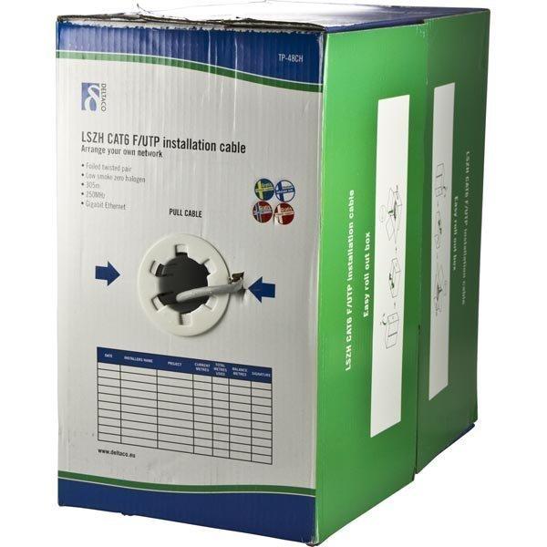 DELTACO LSZH FTP asennuskaapeli Cat6 305m laatikko harmaa
