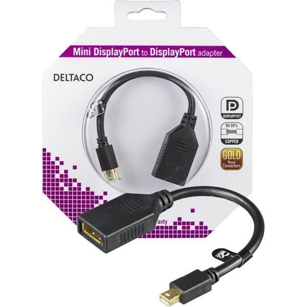 DELTACO Mini DisplayPort ur -l DisplayPort na 0 15m musta
