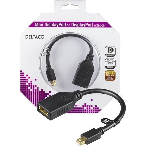 DELTACO Mini DisplayPort ur -l DisplayPort na 0 15m musta