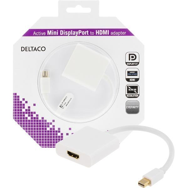 DELTACO Mini Displayport - HDMI sovitin 4K audio 0 2 valkoinen