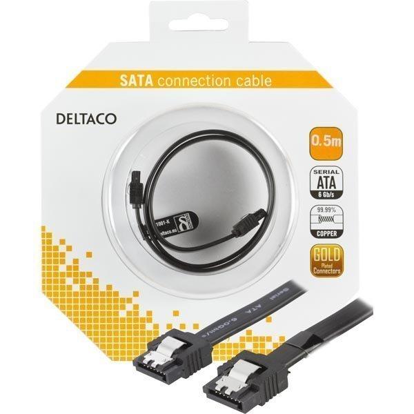 DELTACO SATA-kabel SATA 6Gb/s lukko klipsi suora-suora 0 5m musta