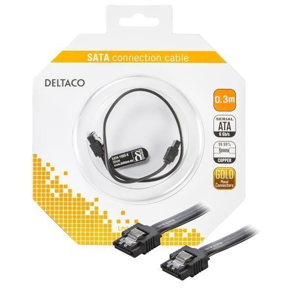 DELTACO Sata 6 GPQS 30cm black with clips blister