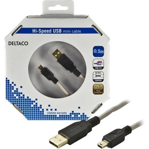 DELTACO USB 2.0 kaapeli Tyyppi A Uros - Mini B Uros 0 5m musta/beige