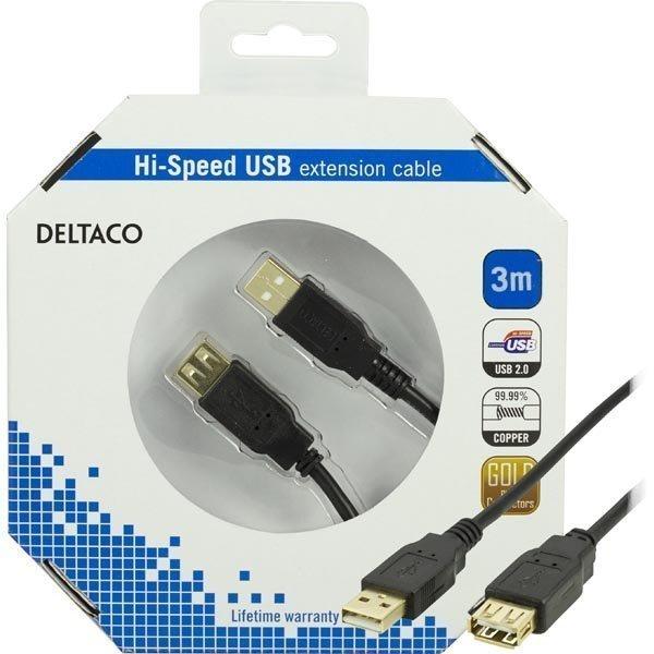 DELTACO USB 2.0 kaapeli Tyyppi A uros - Tyyppi A naaras 3m musta