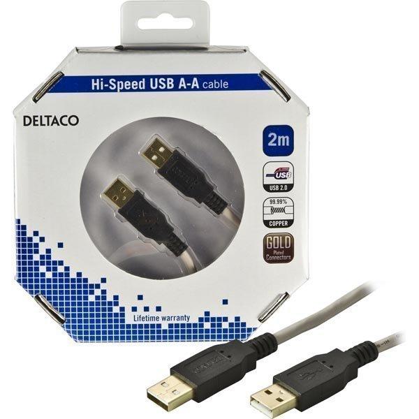 DELTACO USB 2.0 kaapeli Tyyppi A uros - Tyyppi A uros 2m beige/musta