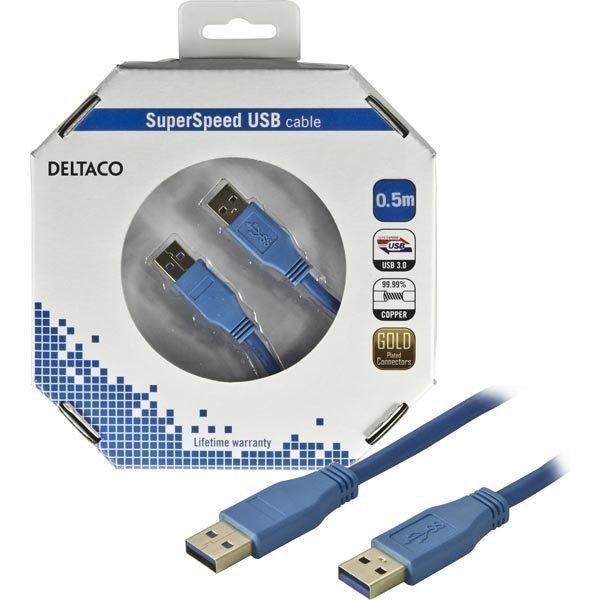 DELTACO USB 3.0 kaapeli Tyyppi A uros - Tyyppi A uros 0 5m sininen