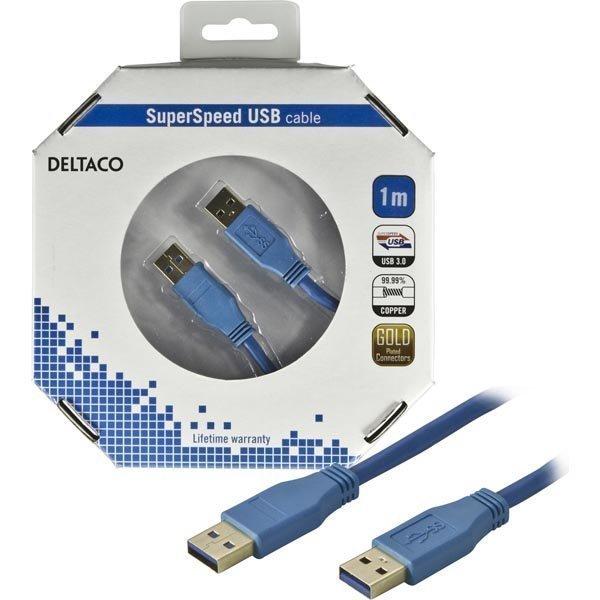 DELTACO USB 3.0 kaapeli Tyyppi A uros - Tyyppi A uros 1m sininen