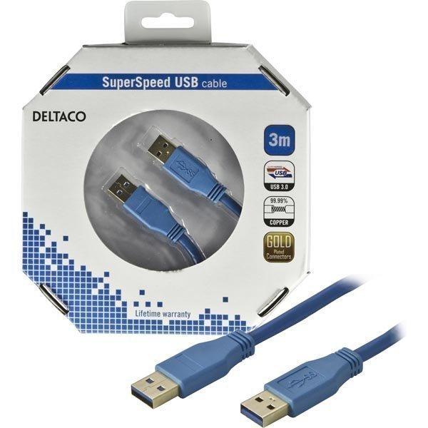 DELTACO USB 3.0 kaapeli Tyyppi A uros - Tyyppi A uros 3m sininen