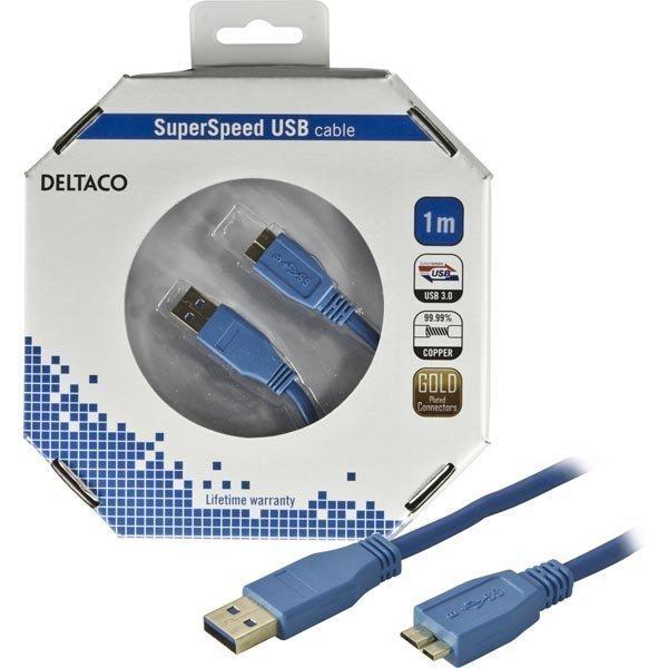 DELTACO USB 3.0 kaapeli Tyyppi A uros - Tyyppi MicroB uros 1m sininen