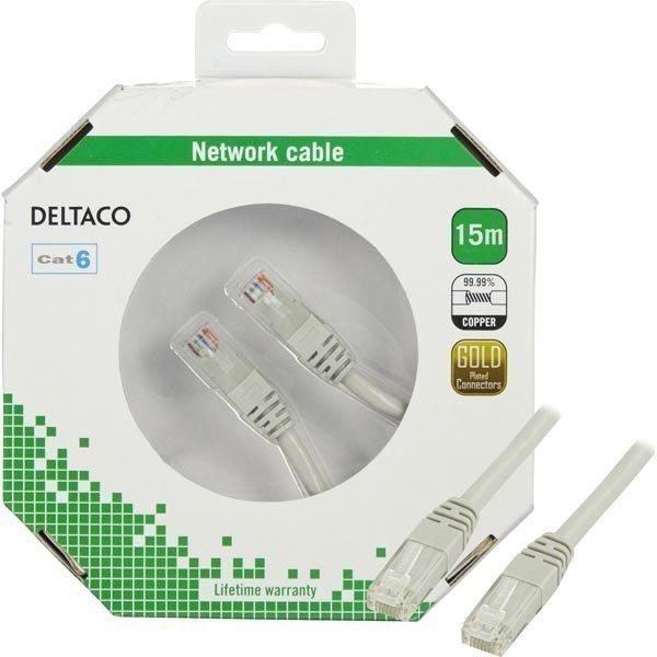 DELTACO UTP Cat6 laitekaapeli 15m harmaa blisterpakkaus