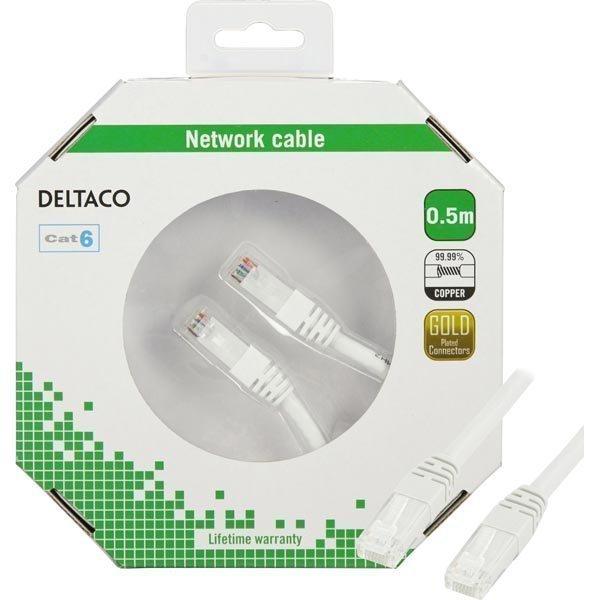 DELTACO U/UTP Cat6 laitekaapeli 0.5m valkoinen