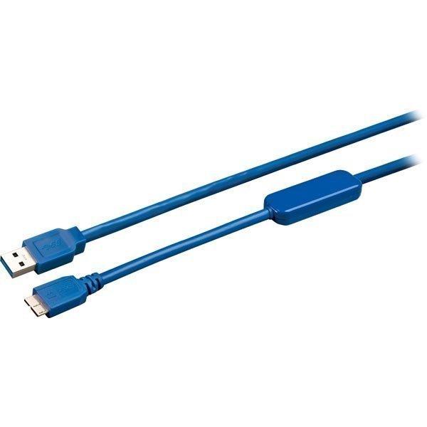 DELTACO aktiiv. USB 3.0-kaapeli Type A ur - Type Micro B ur 5m sin.