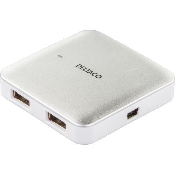 DELTACO kompakti USB 2.0 hubi 4 porttia hope/valk