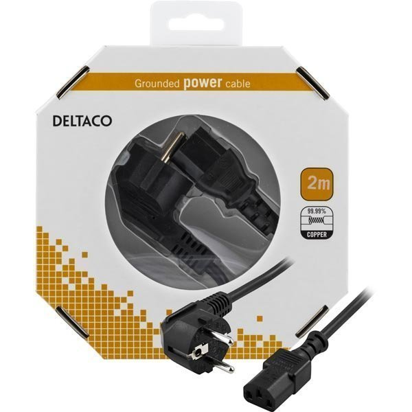 DELTACO laitekaapeli PC- & seinäkosketinliitin 2m