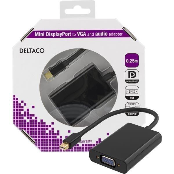 DELTACO mini DisplayPort - VGA-sovitin jossa ääni 0 25m musta