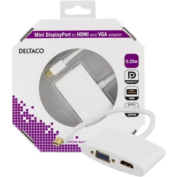 DELTACO mini DisplayPort till HDMI och VGA-adapter 0 25m vit