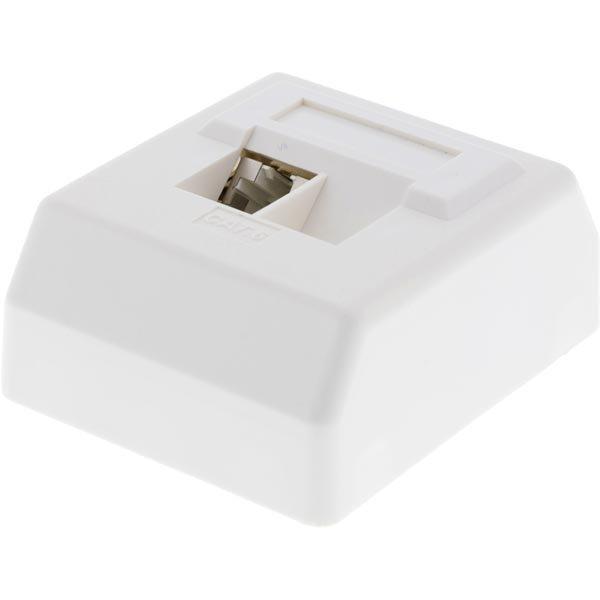 DELTACO seinäpistoke pinta-asennettava UTP 1xRJ45 Cat6 valkoinen