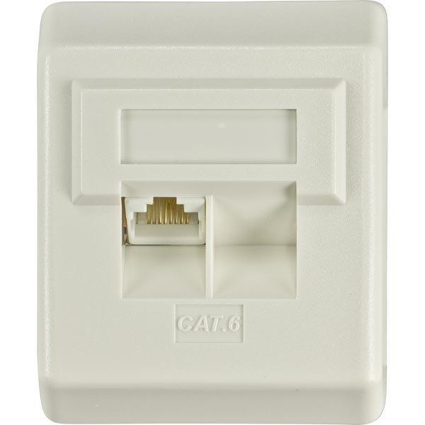 DELTACO suojaamaton pinta-asennettava seinärasia 1xRJ45 Cat6 valkoi