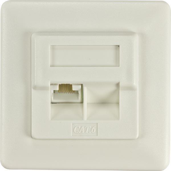 DELTACO suojaamaton seinärasia 1xRJ45 Cat6 valkoinen