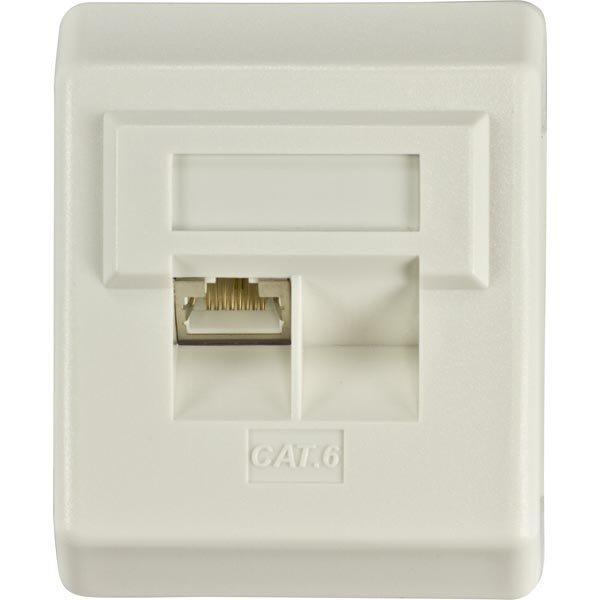 DELTACO suojattu pinta-asennettava seinärasia 1xRJ45 Cat6 valkoinen