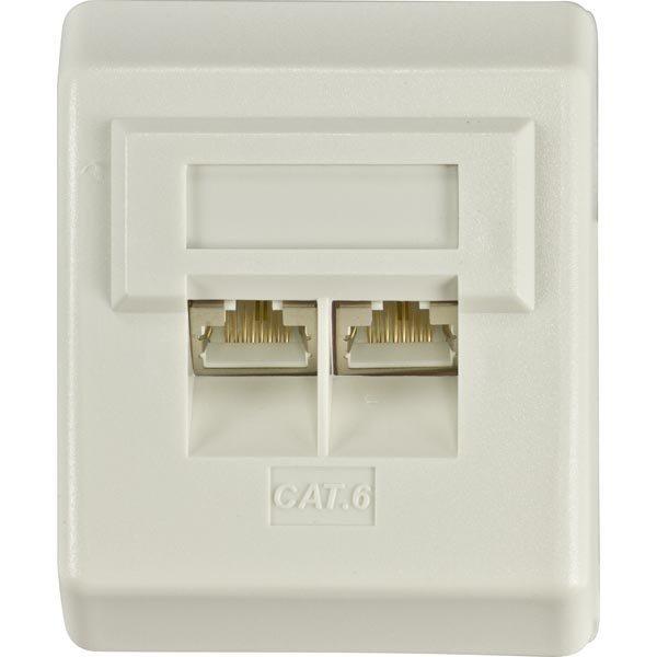 DELTACO suojattu pinta-asennettava seinärasia 2xRJ45 Cat6 valkoinen