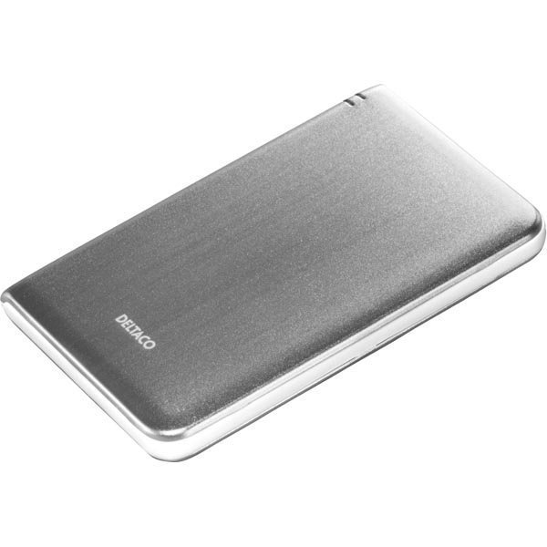 """DELTACO ulkoinen kotelo1x2 5 SATA-kiintolevylle USB 3.0 hopea/valk."""""""