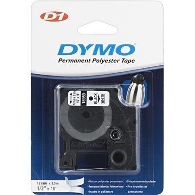 DYMO D1 merkkausteippi 12 mm valk/musta teksti 5 5 m