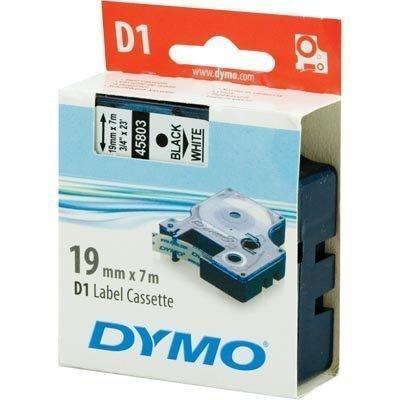 DYMO D1 merkkausteippi 19mm valk/musta teksti 7m