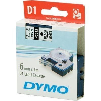 DYMO D1 merkkausteippi 6mm valkoinen/musta teksti 7m