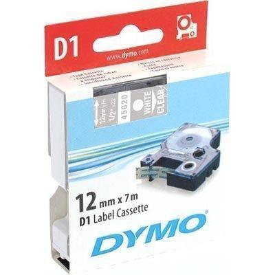 DYMO D1 merkkausteippi standardi 12mm läpinäkyvä/valk teksti 7m