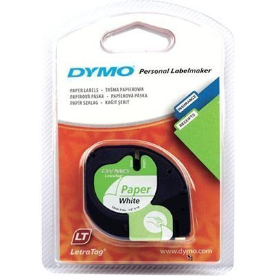 DYMO LetraTAG paperiteippi 12mm 4m valkoinen