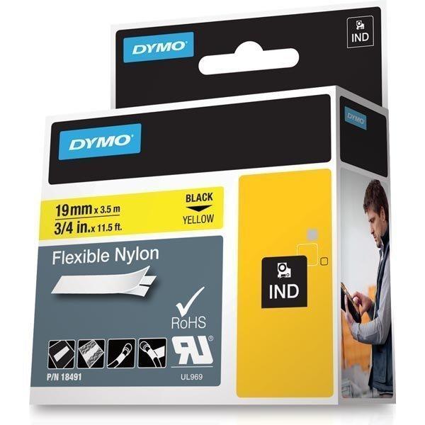 DYMO Rhino PRO joustava merkkausteippi 19 mm keltainen nylonteipp