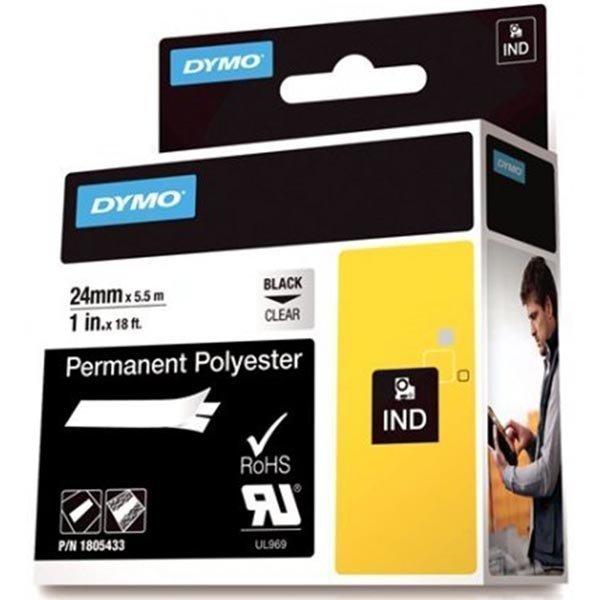 DYMO Rhino Prof polyesteritar 24mm must. teksti läpinäk.teippi 5