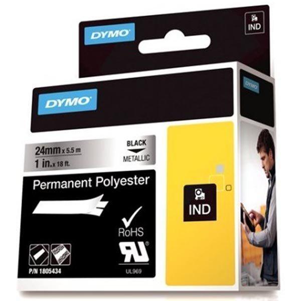 DYMO Rhino Prof polyesteritar 24mm must. teksti metall. teippi 5 5m