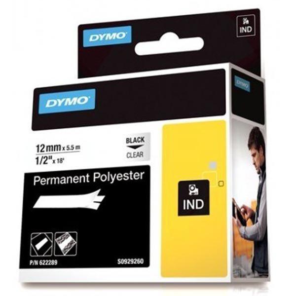 DYMO Rhino Prof polyesteriteippi 12mm musta teksti läpinäk.teippi 5
