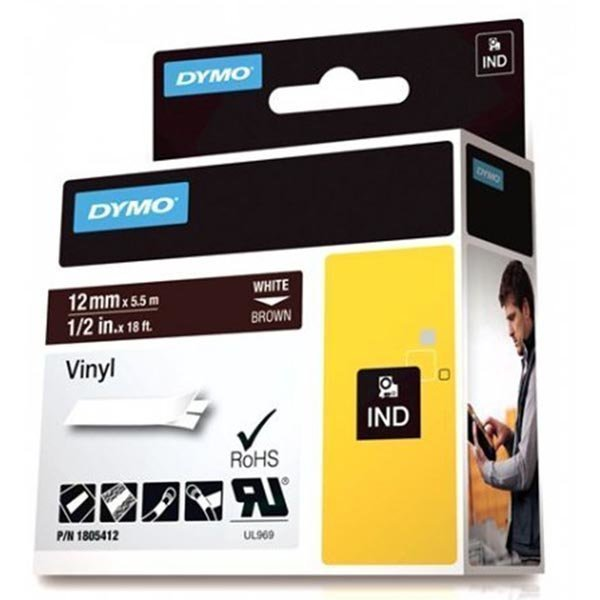 DYMO Rhino Professional 12mm merkkausteippi valk. teksti rusk. teks
