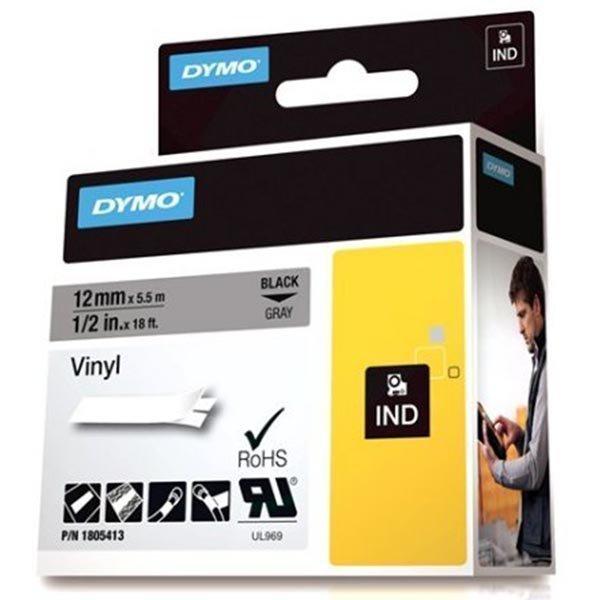 DYMO Rhino Professional 12mm merkkausteippi valk.teksti harm.teip