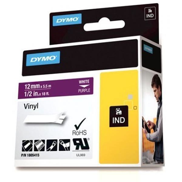 DYMO Rhino Professional 12mm merkkausteippi valk.teksti lila teippi