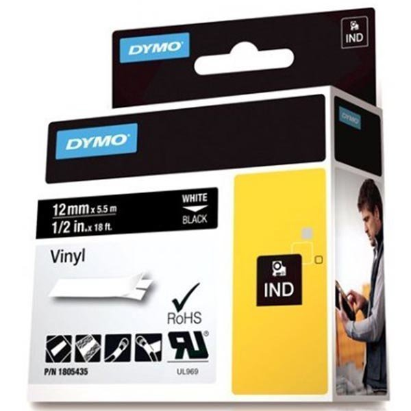 DYMO Rhino Professional 12mm merkkausteippi valk.teksti must.teippi
