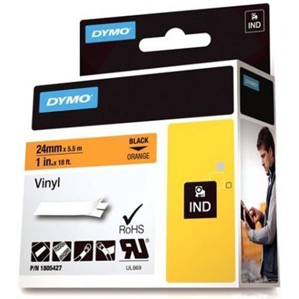 DYMO Rhino Professional 24mm merkkausteippi must.teksti oranss.teip