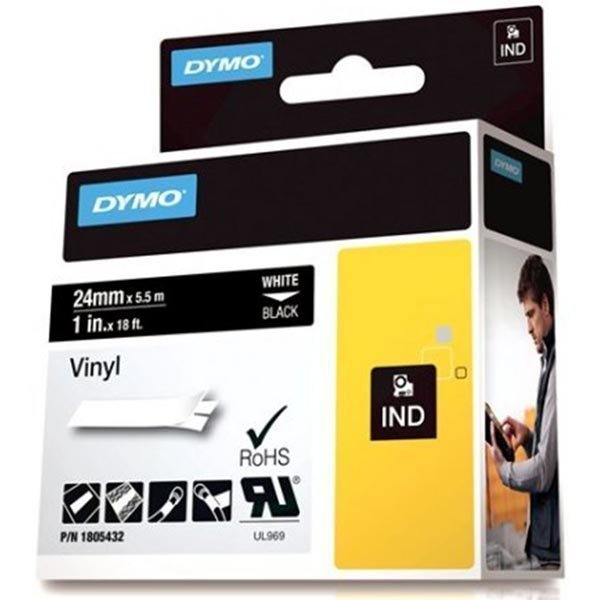 DYMO Rhino Professional 24mm merkkausteippi valk.teksti mus. teippi