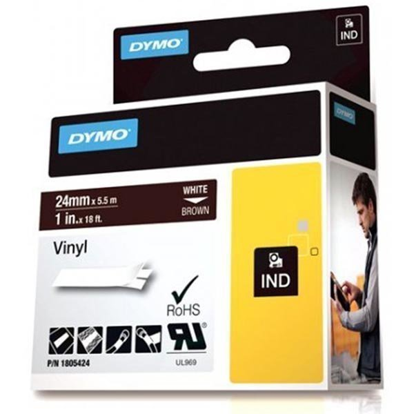 DYMO Rhino Professional 24mm merkkausteippi valk.teksti rusk.teip