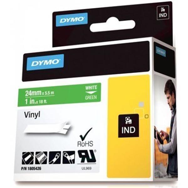 DYMO Rhino Professional 24mm merkkausteippi valk.teksti vihr.teip