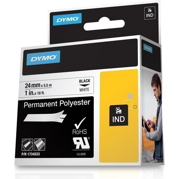DYMO Rhino Professional pysyvä merkkausteippi polyesteri 24 mm